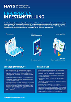Hays Factsheet Festanstellungen im Bereich Human Resources